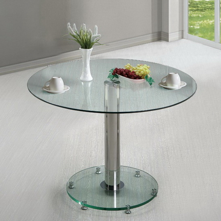 round glass dining table small ice 105cm. Black Bedroom Furniture Sets. Home Design Ideas