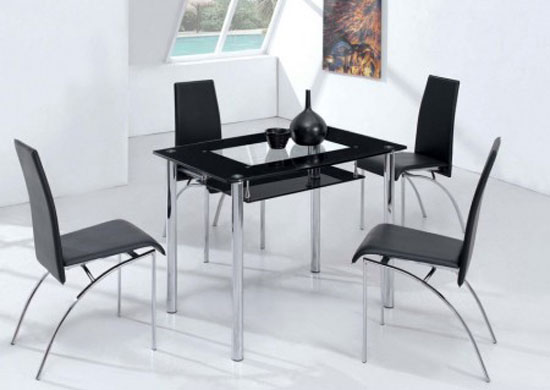 small compact glass dining table with 4 d211 chairs