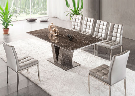Marble Dining Table And 6 Chairs: Hera Brown Grey Marble V Leg Dining Table And 6 Chairs