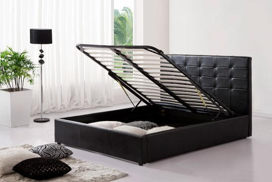 Black Ottoman Faux Leather Double Bed With Storage