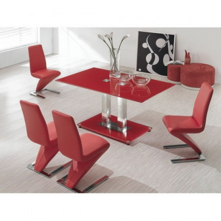 Glass Dining Table Ice With 4 D216 Chairs Set