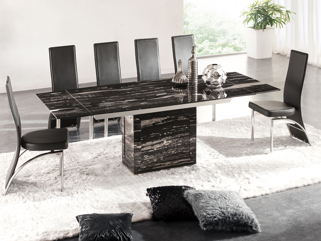 Marble Dining Table And 6 Chairs: Zeus Black Nero Marble Extending Dining Table 6 D212 Chairs