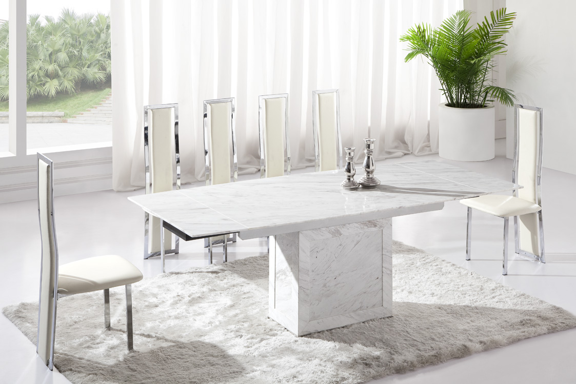 Table and 6 chairs Zeus White Grey Marble V Leg Dining Table and 6