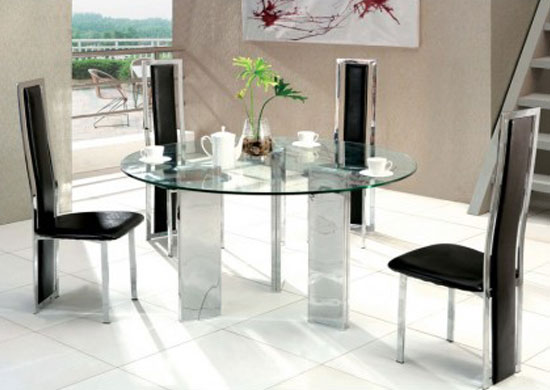 tetris round glass dining table small 4 x d231 chairs