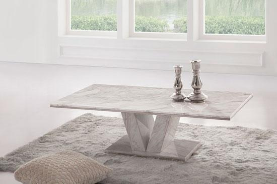 Hera white grey marble v leg coffee table for Grey marble coffee table set