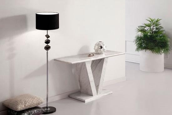Hera White Grey Marble V Leg Console Hall Sofa Table