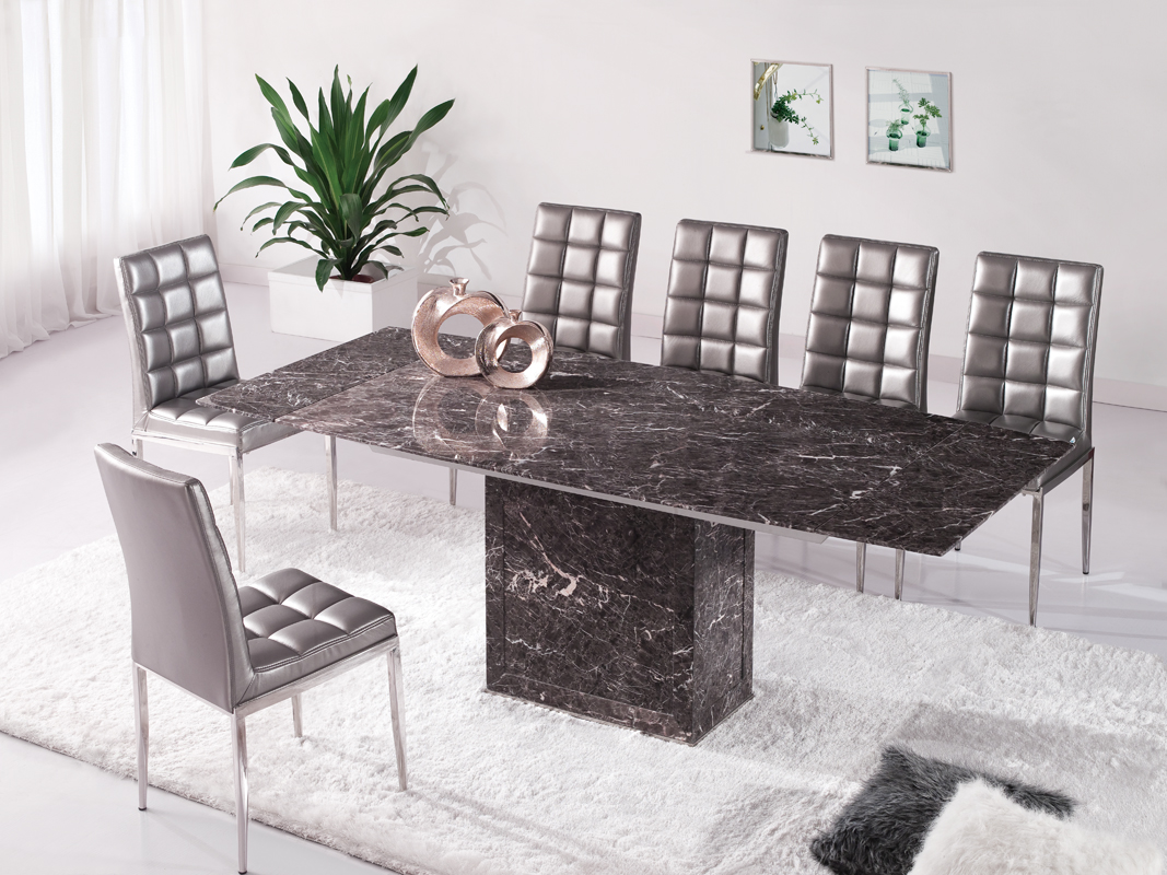 Marble Dining Table And 6 Chairs: Zeus Brown Grey Marble Extending Dining Table And 6 D215