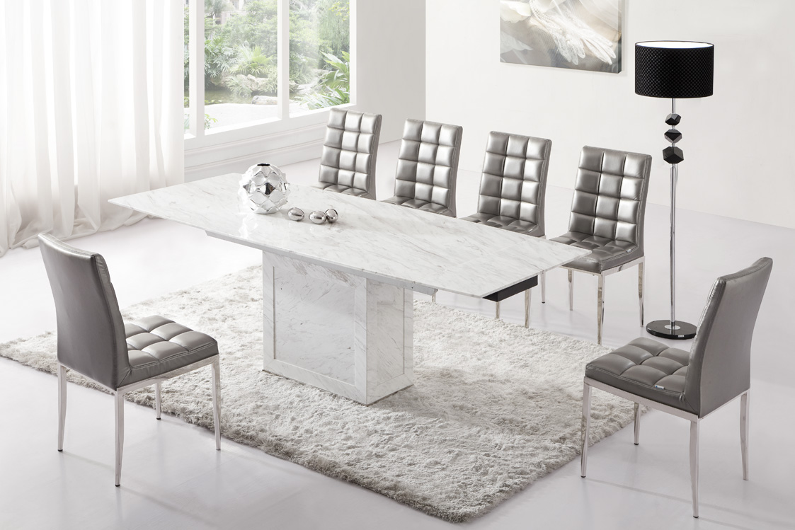 Zeus white grey marble extending dining table 6 chairs for Table et chaise contemporaine