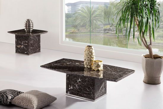 Zeus brown grey marble coffee table for Grey marble coffee table set