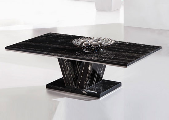 Hera Black Marble V Leg Coffee Table