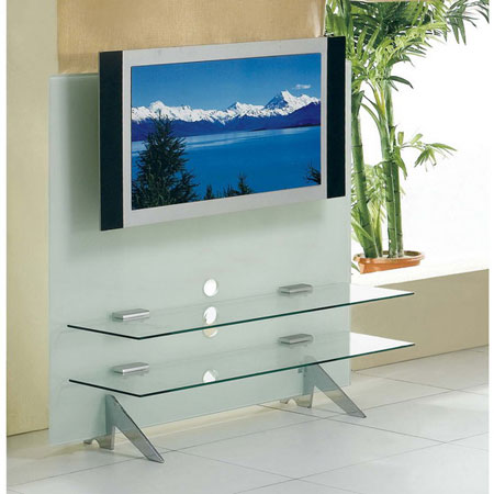 Glass plasma tv stand cascade white for White plasma tv stands