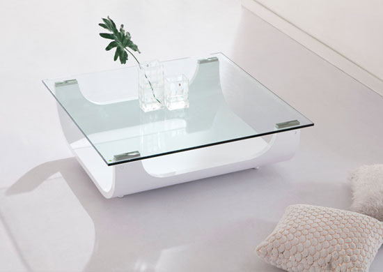 Iceberg Contemporary Square Shaped Glass Coffee Table