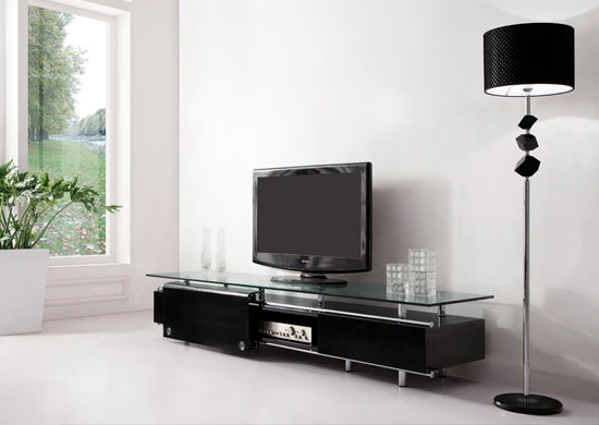 Rooms: 'Oxygen'' Ultra Chic, Contemporary Glass TV Stand Black