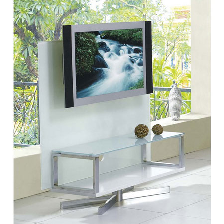 Glass plasma tv stand swivel white for White plasma tv stands