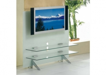 Glass plasma tv stand Cascade White
