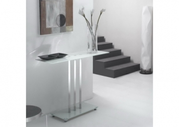 Glass console table Trilogy White