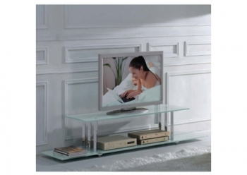 Glass plasma tv stand Trilogy White
