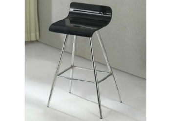 Wood bar stool Wave Shiny black