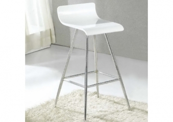 Wood bar stool Wave Shiny white