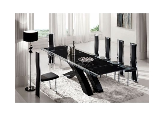'NEXUS' Large Top Quality Extending Dining Table Black and Set of 8 Chairs D231